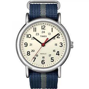 【送料無料】timex t2n654, mens weekender blue strap fabric watch, indiglo