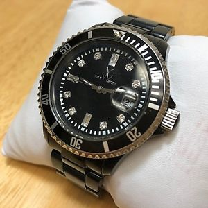 【送料無料】toy watch 50m screwdown crown moving bezel quartz watch hours~date~ battery