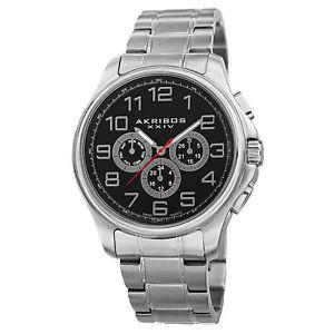 【送料無料】 mens akribos xxiv ak748ssb swiss quartz multifunction stainless steel watch