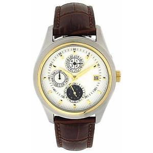 【送料無料】jakob strauss gents cronograph automatic day date moon leather strap watch