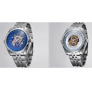 【送料無料】jaragar automatic stainless steel case amp; strap skeleton window watch