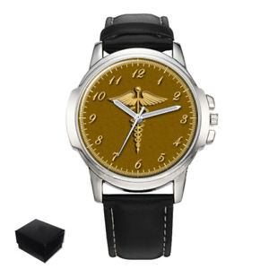 【送料無料】doctor caduceus medical symbol gents mens wrist watch engraving