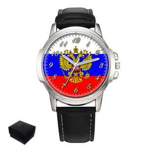 【送料無料】russia russian flag gents mens wrist watch gift box engraving