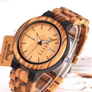 【送料無料】wood watch for men with week display date quartz watches twotone