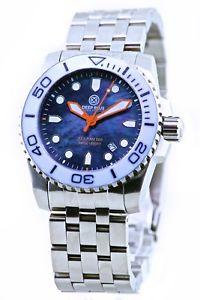 【送料無料】deep blue swiss quartz sea ram mother of pearl watch very rare