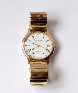 【送料無料】philip mercier premier collection 18k gold plated gents wrist watchgood working