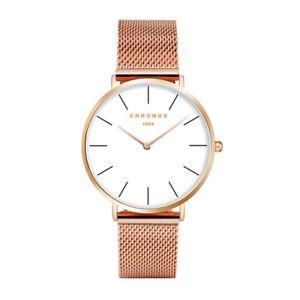 【送料無料】chronos 1898 luxury watch men women rose gold silver casual quartzwatch leather