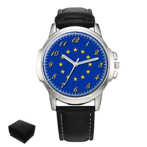 【送料無料】neues angeboteuropean union eu flag gents mens wrist watch gift engraving