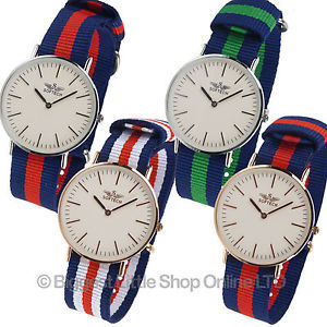 【送料無料】 mens stylish classic military strap watch by softech nylon twotone slim