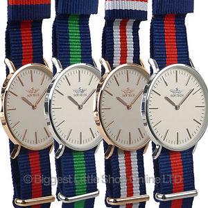 mens stylish classic military strap watch by softech nylon twotone slim