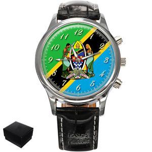 【送料無料】neues angebottanzania flag coat of arms gents mens wrist watch gift engraving