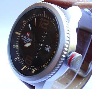 awesome military 48mm army navy pilots aviators sport date quartz steel watch