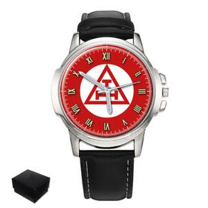 【送料無料】triple tau cross masonic gents mens wrist watch gift engraving