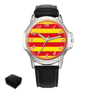 【送料無料】catalonia flag gents mens wrist watch gift engraving