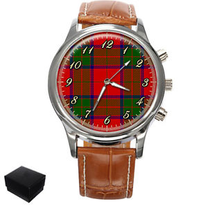 【送料無料】robertson scottish clan tartan gents mens wrist watch gift box engraving