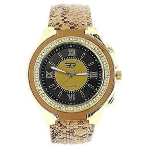 【送料無料】golddigga ladies crystal brown snake skin design strap fashion watch dig62c