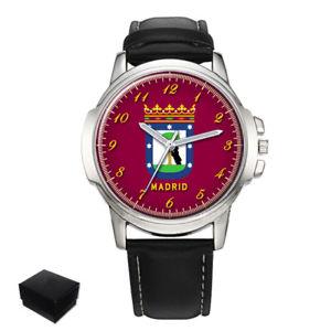 【送料無料】city of madrid flag coat of arms spain gents mens wrist watch gift engraving