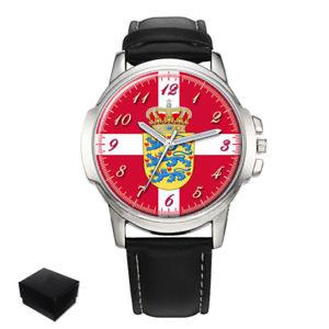 【送料無料】denmark danish flag coat of arms gents mens wrist watch gift engraving