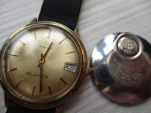 【送料無料】vintage mens timex q, quartz for parts, worn, non runner