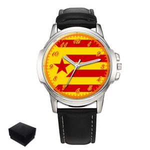 catalonia red estelada independence catalan  mens wrist watch  gift engraving
