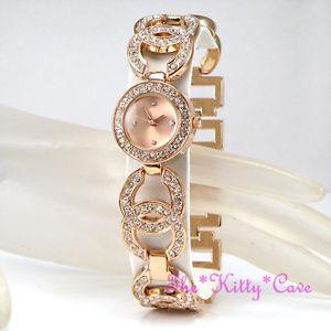 【送料無料】ladies rose gold pl designer dress double kiss bling watch w swarovski crystals