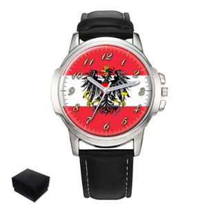 【送料無料】austria flag eagle coat of arms gents mens wrist watch gift engraving