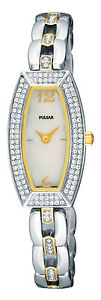 【送料無料】pulsar ladies swarovski two tone bracelet watch pege22x1pnp