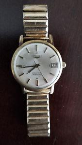 【送料無料】vintage mens longines grand prize automatic with date original crown gold filled