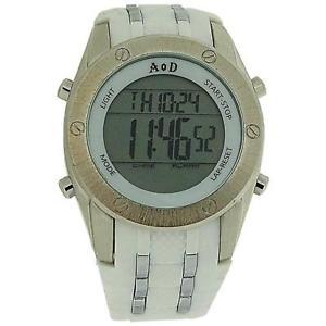 【送料無料】angel or demon mensboys digital chronograph white silicone strap everyday watch