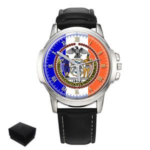 【送料無料】 york city flag seal usa gents mens wrist watch gift engraving