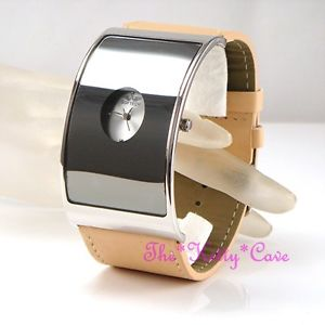 【送料無料】retro silver curved glass designer eames wide statement beige leather cuff watch