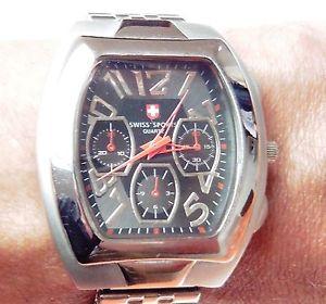 【送料無料】gents stainless steel swiss sports quartz bracelet watch, working, for