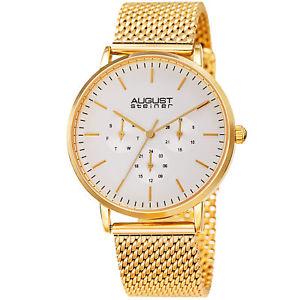 model mens august steiner as8255 multifunction stainless steel mesh watch