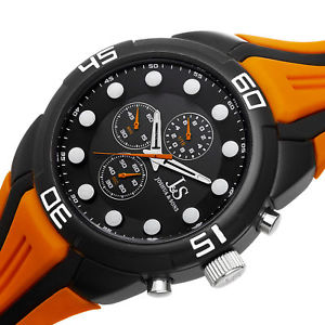 mens joshua amp; sons js61or sport chronograph orange silicone strap watch