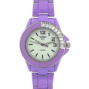 【送料無料】prince london ladies analogue stone set bezel purple metal bracelet strap watch