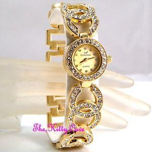 【送料無料】ladies gold plated designer dress double kiss bling watch w swarovski crystals