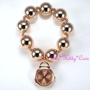 【送料無料】designer rose gold plated big chunky ball beads boho cuff bracelet charm watch