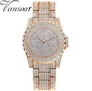 【送料無料】luxury women watch vansvar brand full glitter rhinestone crystal quartz