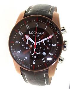 【送料無料】orologio locman aviatore 0450bnbnfwrnpst uomo pelle cronografo marrone titanio