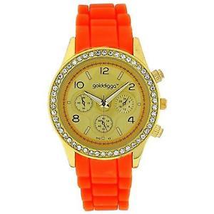 【送料無料】golddigga ladies chrono effecct cz set bezel orange silicone strap watch dig43c