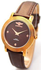 sturmanskie ladies quartz watch rose gold brown leather strap