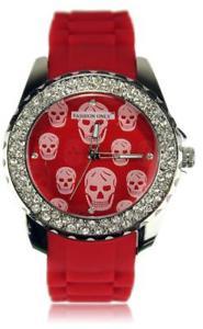 【送料無料】red skull print crystal ladies fashion watch