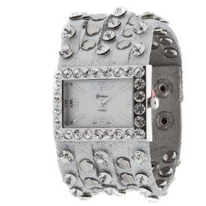 【送料無料】silver crystal studded leather ladies fashion watch