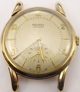 vintage rotary 9ct gold gents 15 jewel swiss gents wristwatch in working order