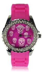 【送料無料】pink skull print crystal ladies fashion watch