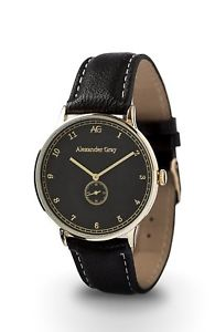 【送料無料】british ag gilded wristwatch with smooth leather strap and ultrathin case gift