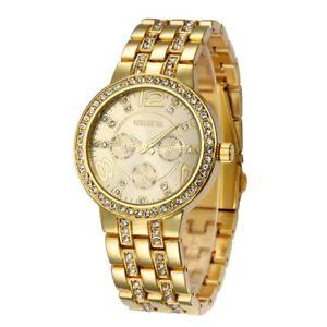 【送料無料】golden luxury geneva stainless steel metal women watches lady rhinestone casual1