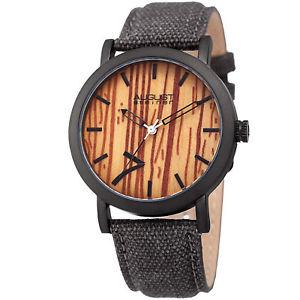 【送料無料】mens august steiner as8238gy signature seven genuine leather canvas strap watch