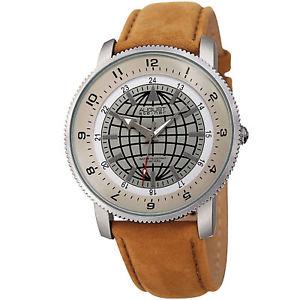 【送料無料】mens august steiner as8213br three hand quartz movement leather strap watch