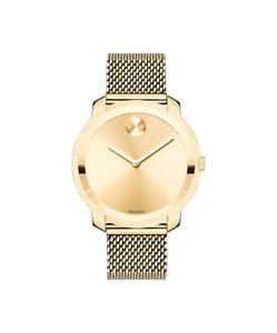 【送料無料】 movado bold womens mesh strap yellow tone watch 3600241